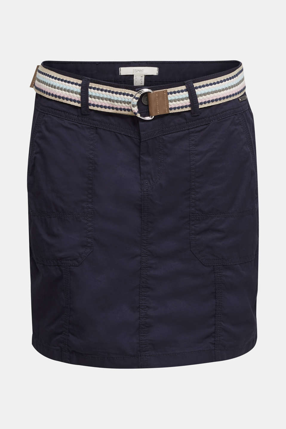 Skirt with belt, 100% organic cotton, NAVY, detail image number 5