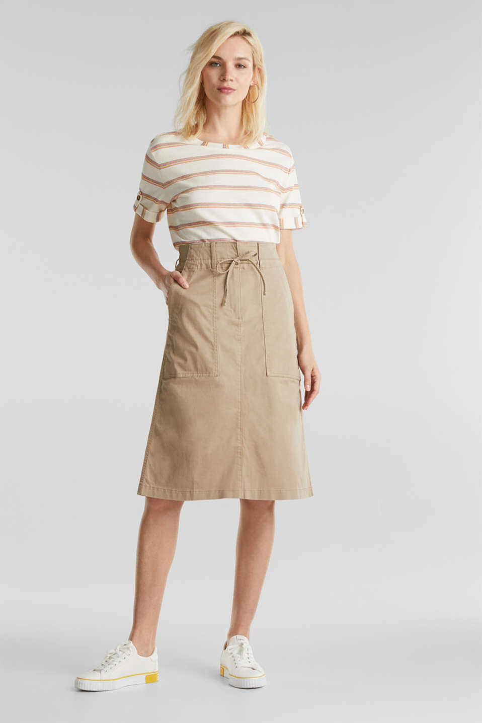 Twill skirt with a high waistband, BEIGE, detail image number 0