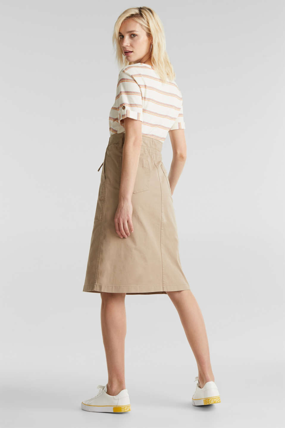 Twill skirt with a high waistband, BEIGE, detail image number 2