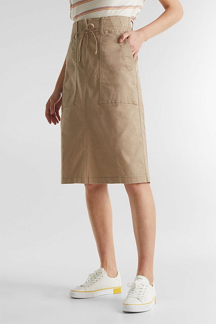 Falda de sarga con cintura alta, BEIGE, detail image number 5