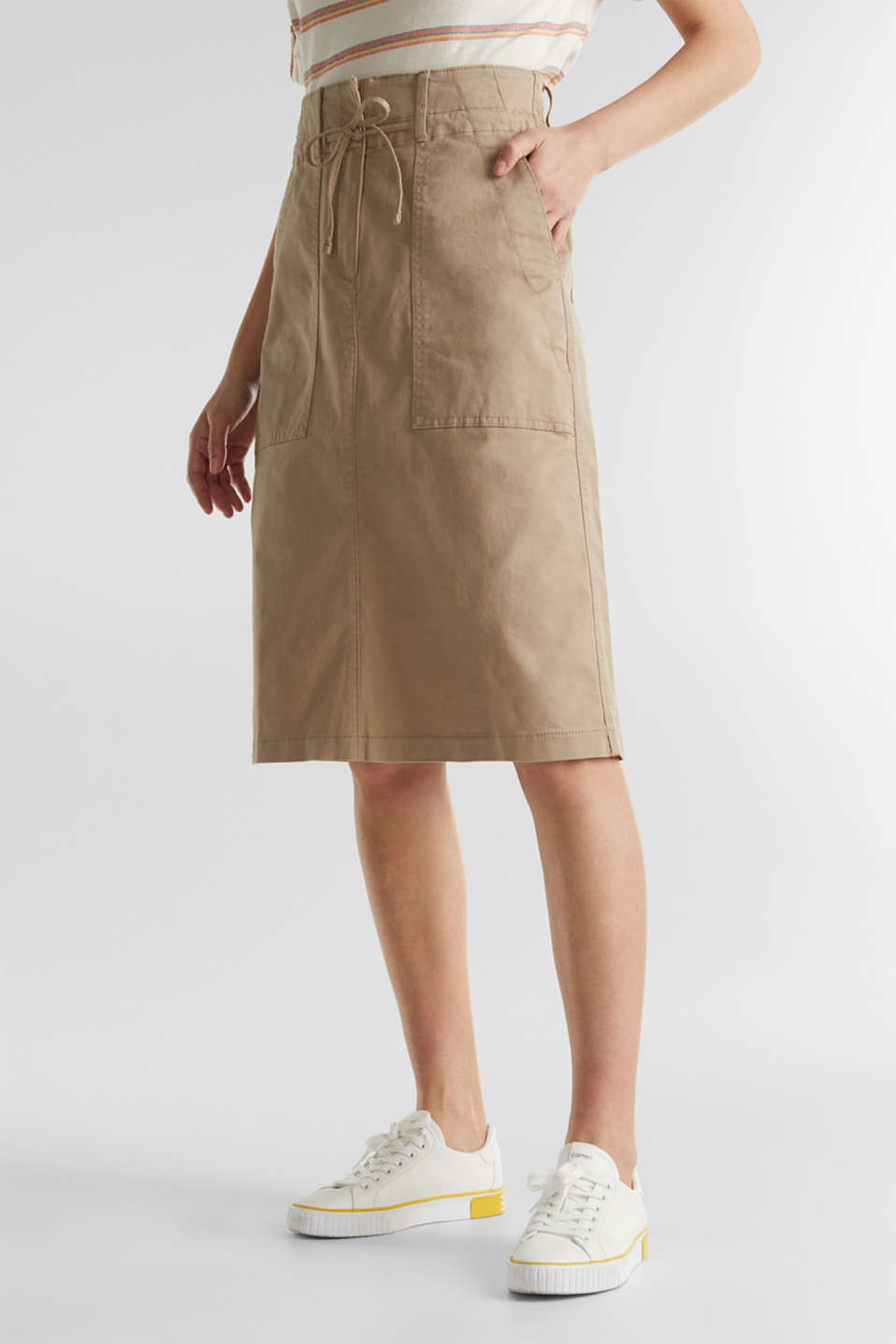 Twill skirt with a high waistband, BEIGE, detail image number 5