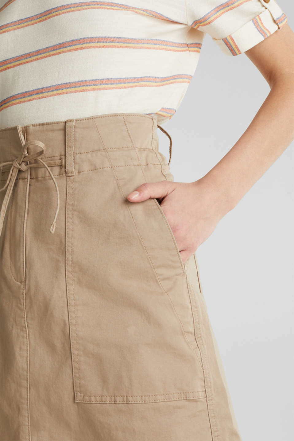 Twill skirt with a high waistband, BEIGE, detail image number 1