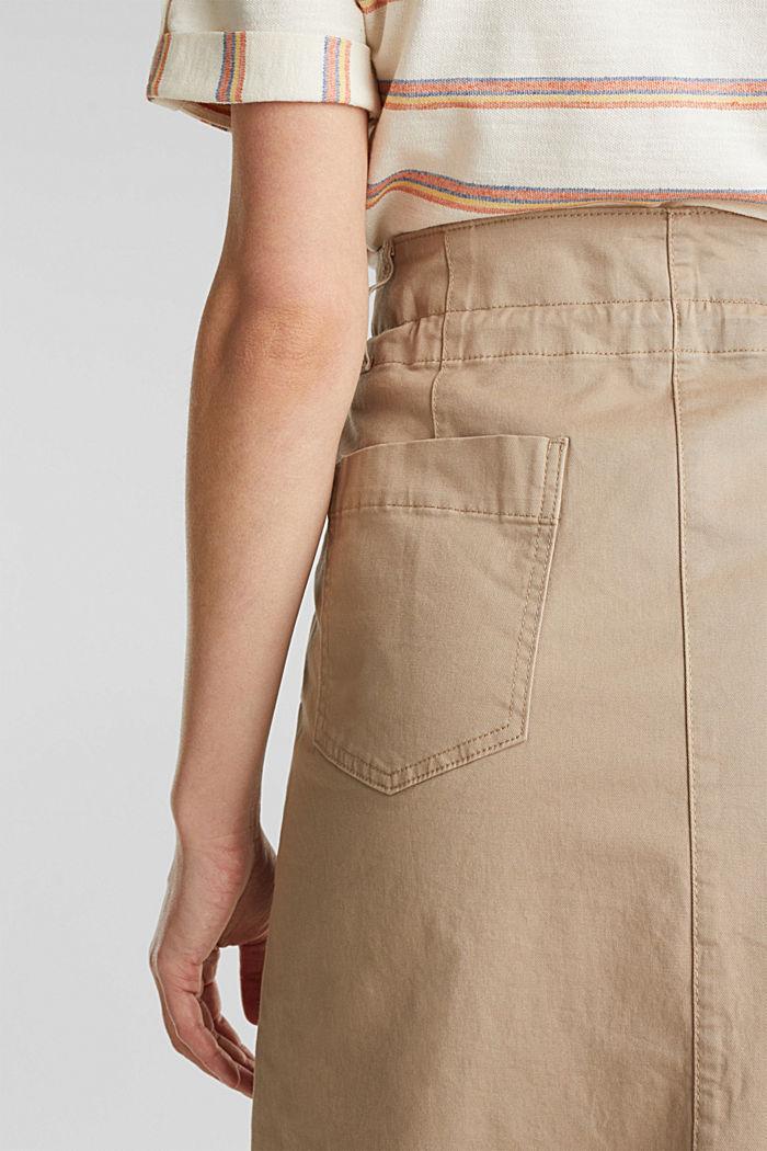 Falda de sarga con cintura alta, BEIGE, detail image number 4
