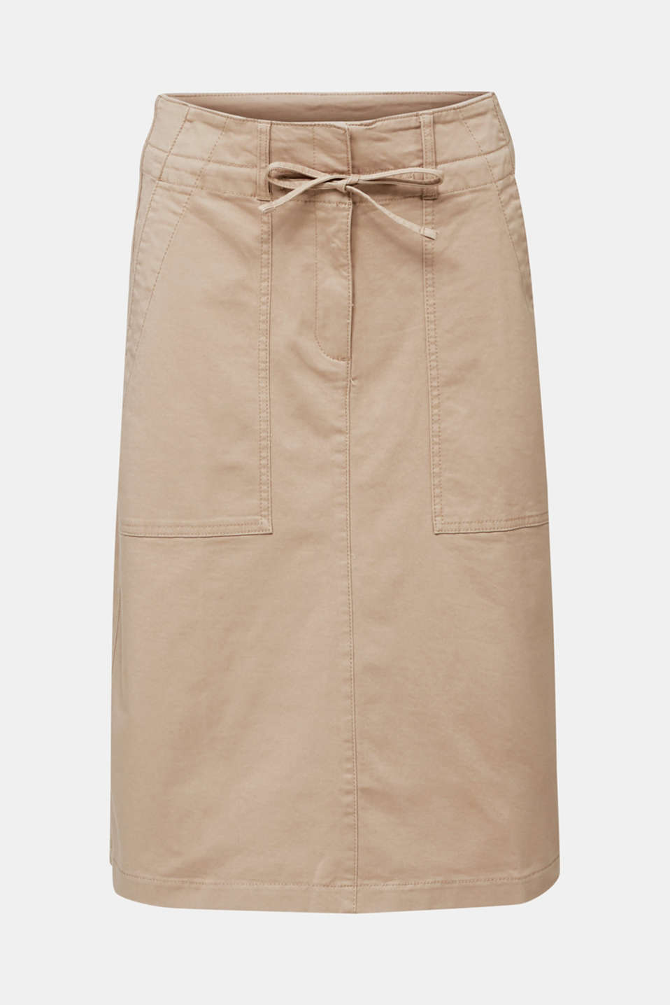Twill skirt with a high waistband, BEIGE, detail image number 6