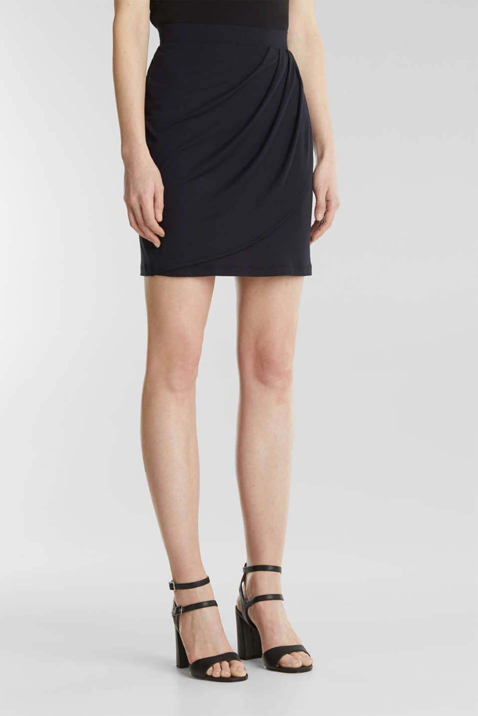 Stretch jersey skirt with a wrap-over effect, BLACK, detail image number 5