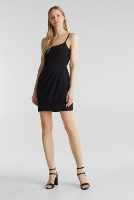 Stretch jersey skirt with a wrap-over effect, BLACK, detail