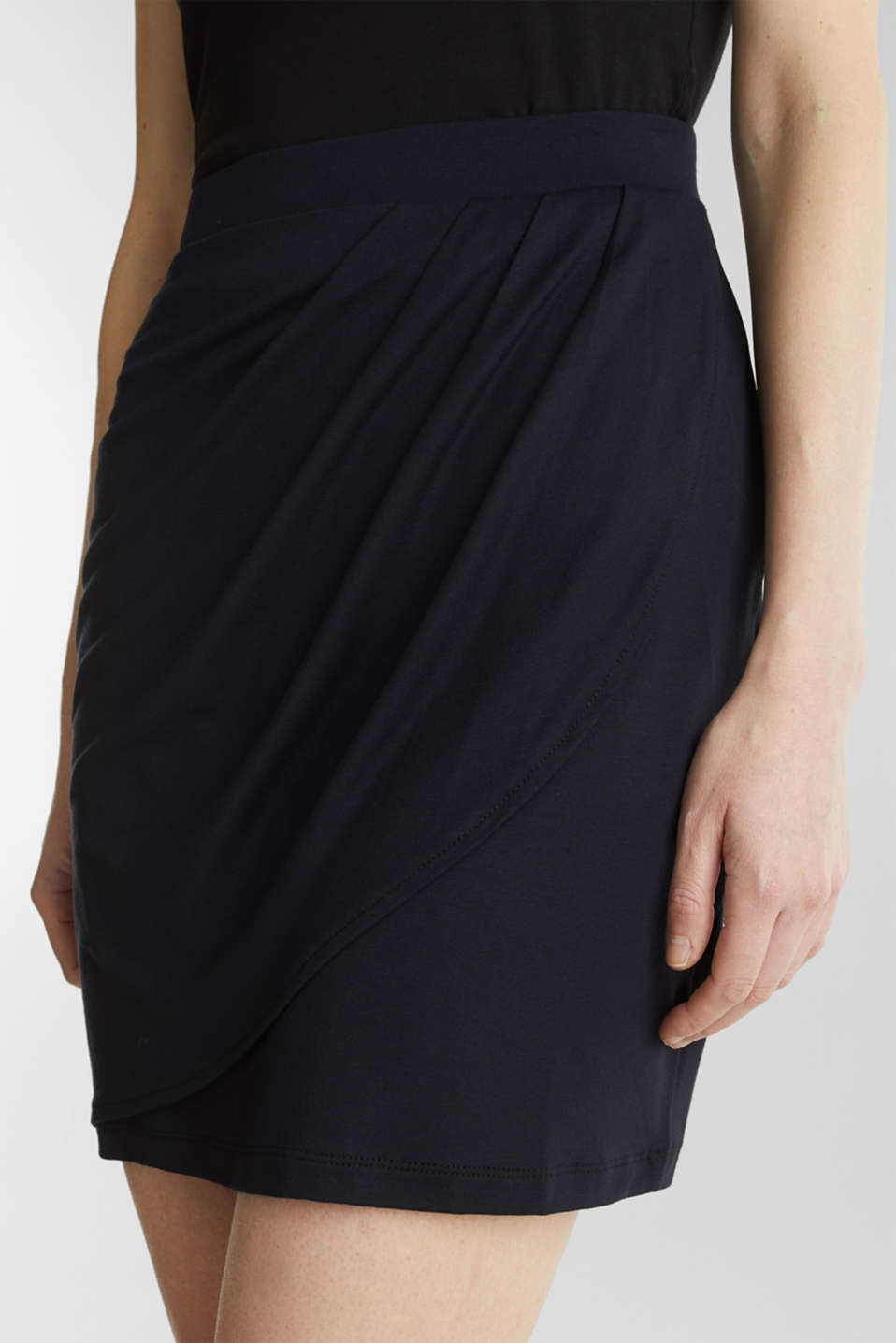 Stretch jersey skirt with a wrap-over effect, BLACK, detail image number 2