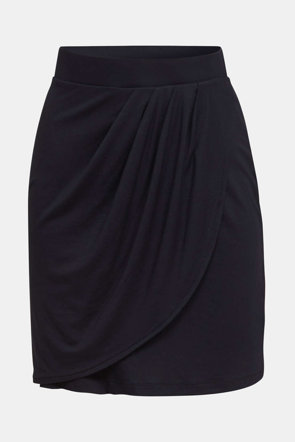 Stretch jersey skirt with a wrap-over effect, BLACK, detail image number 6