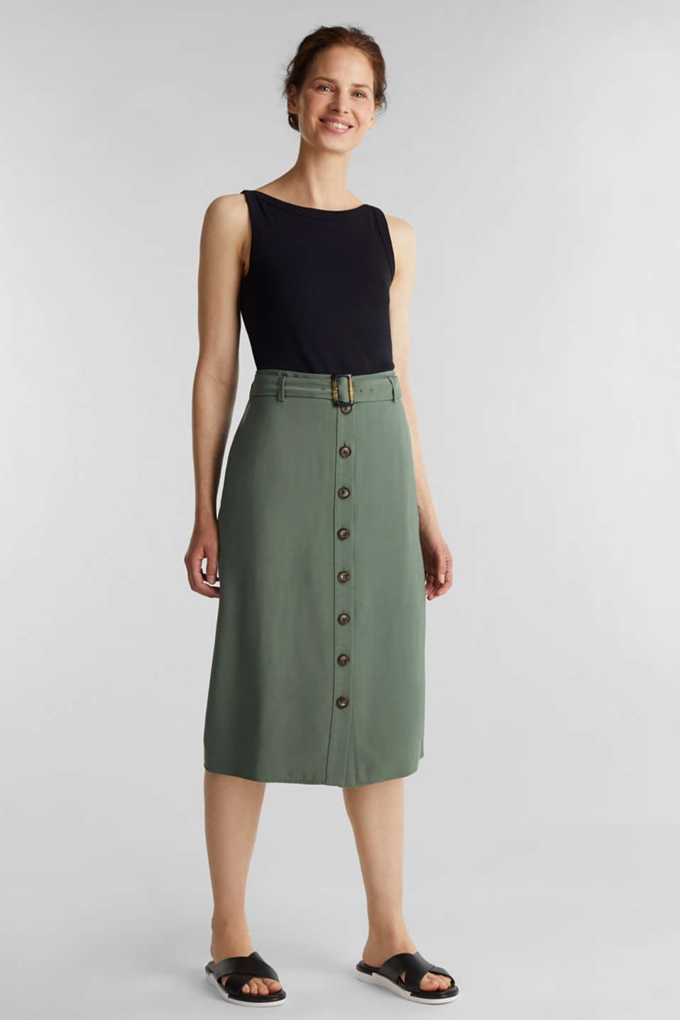 Midi skirt with a belt and a button placket, KHAKI GREEN, detail image number 0