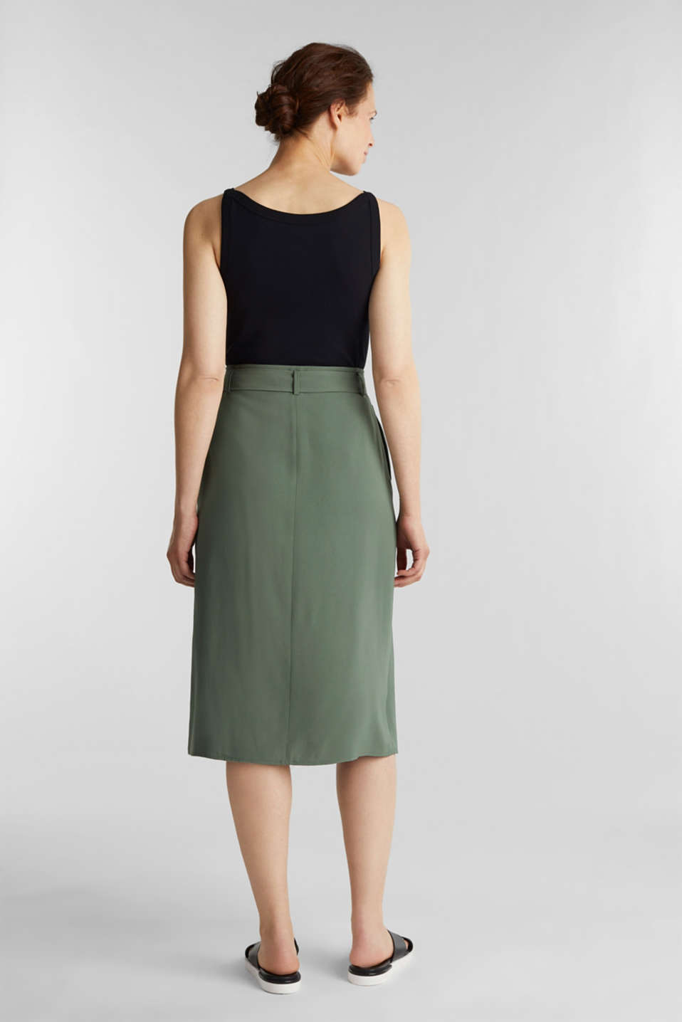 Midi skirt with a belt and a button placket, KHAKI GREEN, detail image number 3
