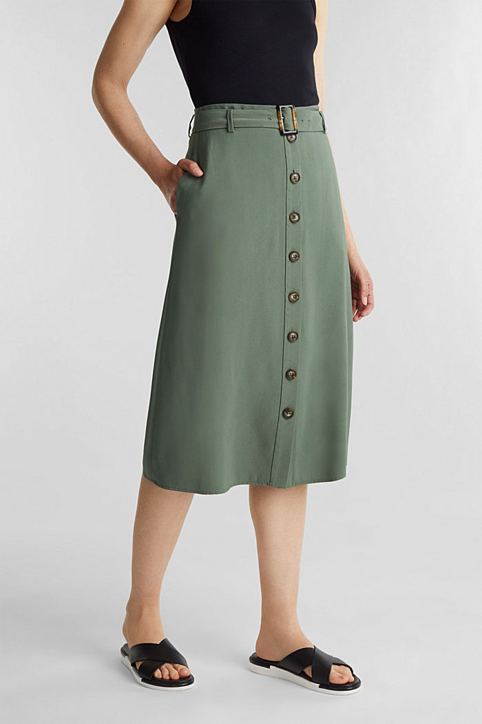 Midi skirt with a belt and a button placket, KHAKI GREEN, detail image number 6