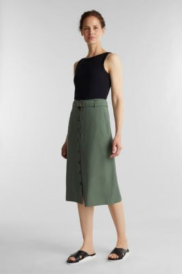 Midi skirt with a belt and a button placket, KHAKI GREEN, detail
