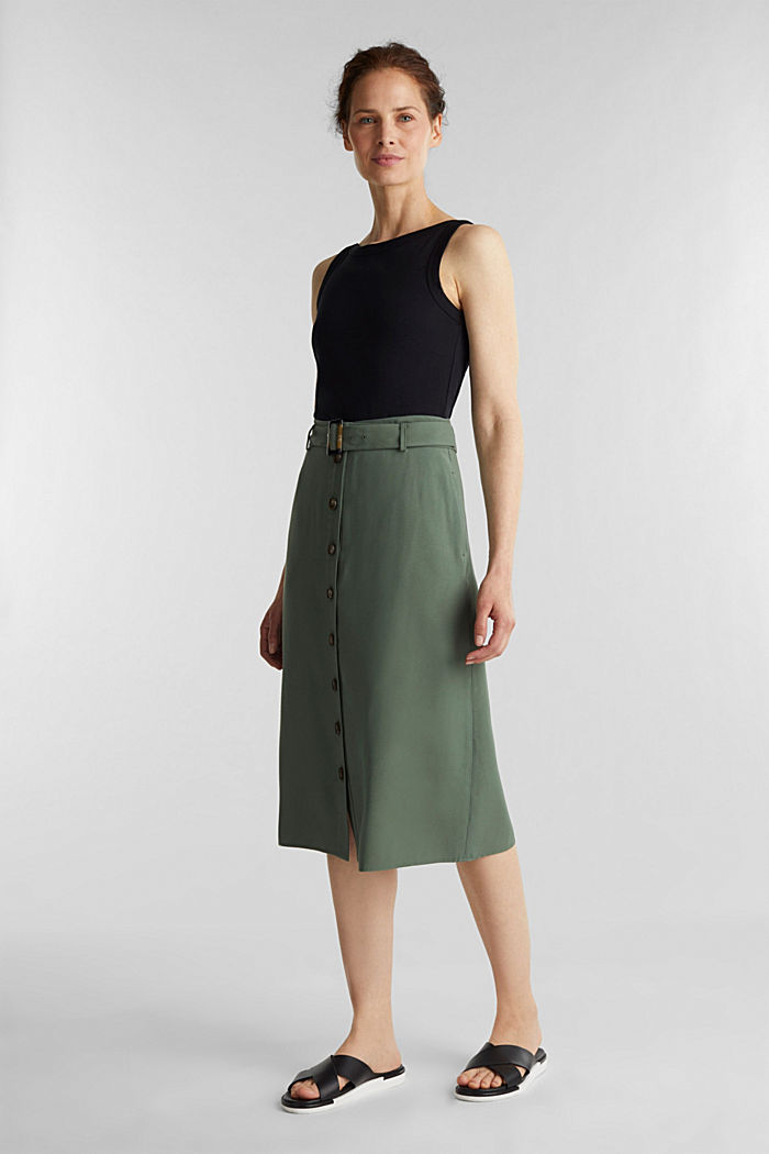 Midi skirt with a belt and a button placket, KHAKI GREEN, detail image number 1