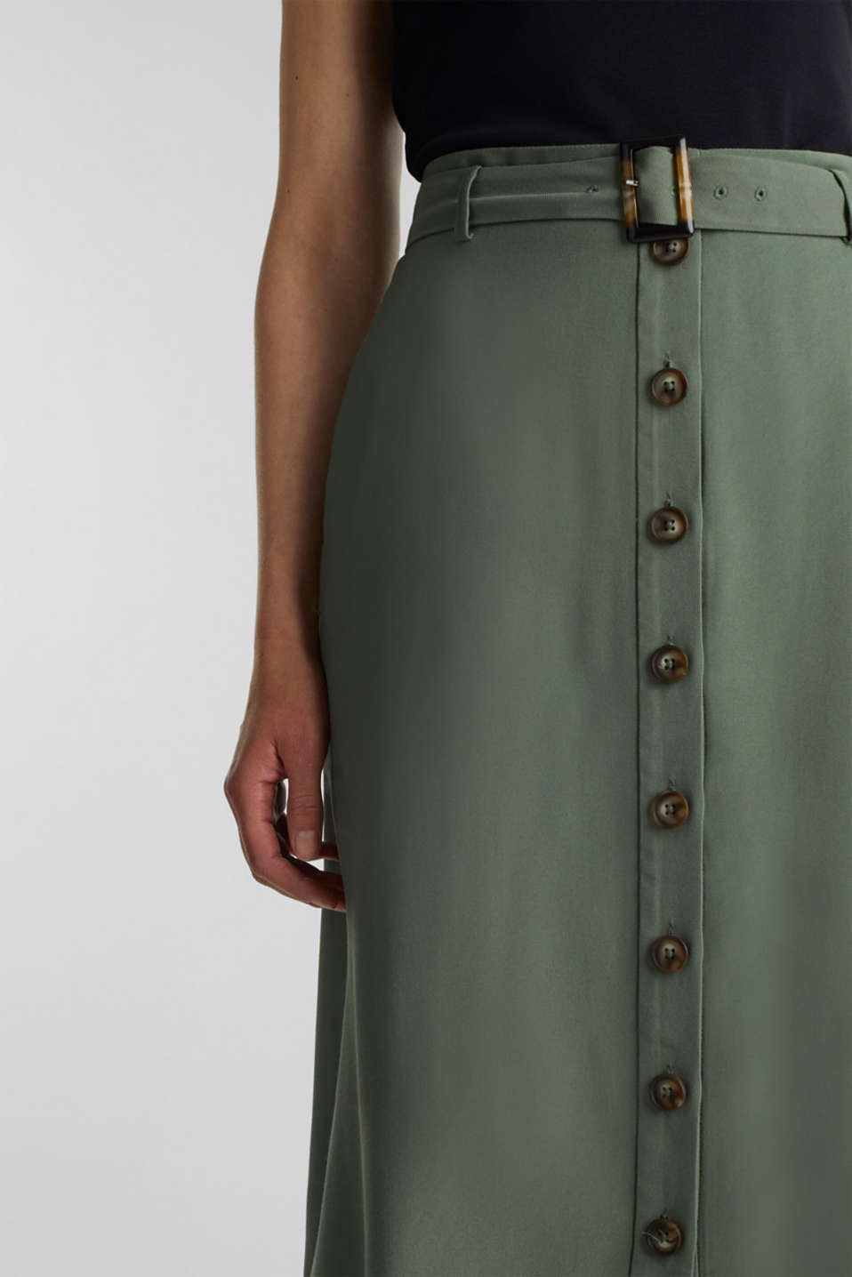 Midi skirt with a belt and a button placket, KHAKI GREEN, detail image number 2