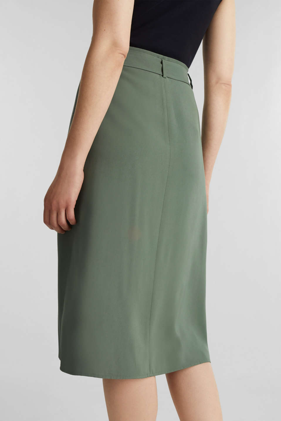 Midi skirt with a belt and a button placket, KHAKI GREEN, detail image number 5
