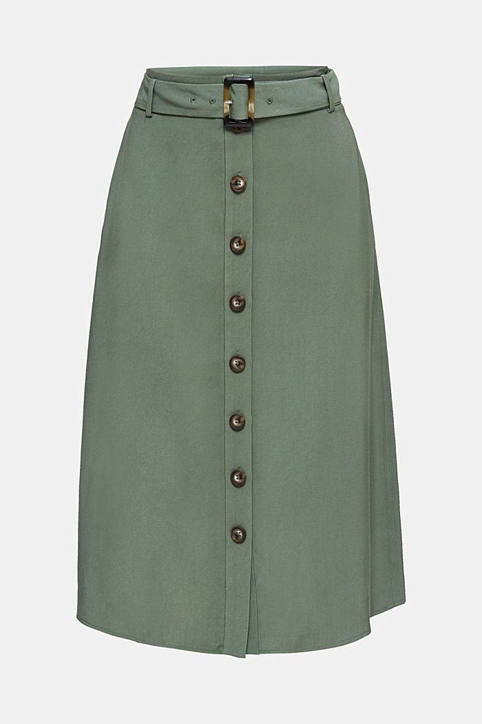 Midi skirt with a belt and a button placket, KHAKI GREEN, detail image number 7