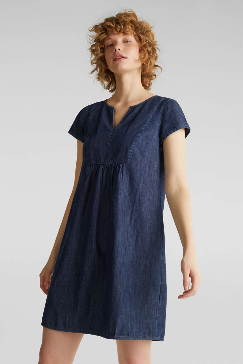 Denim tent dress made of 100% cotton, BLUE RINSE, detail image number 0