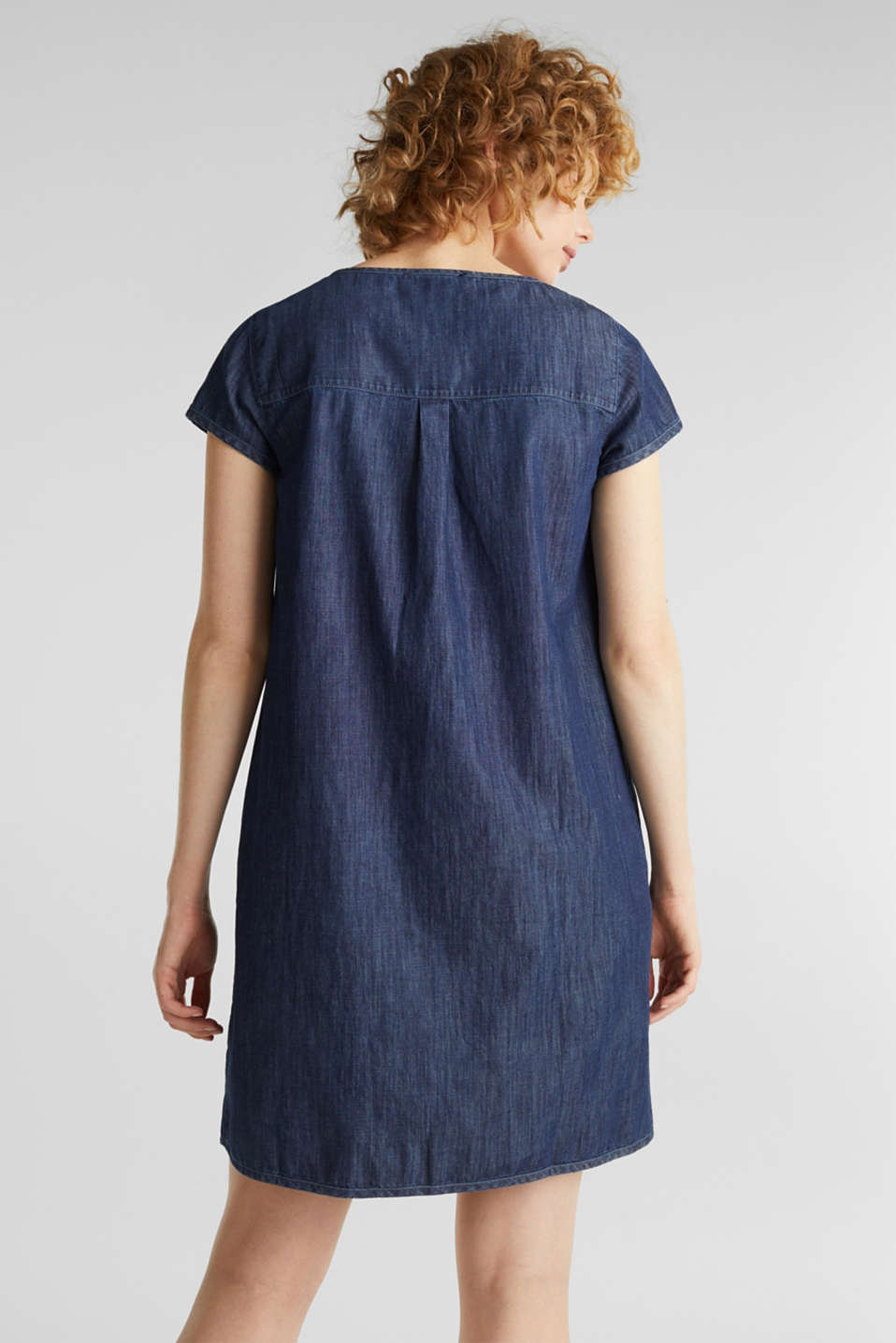 Denim tent dress made of 100% cotton, BLUE RINSE, detail image number 2