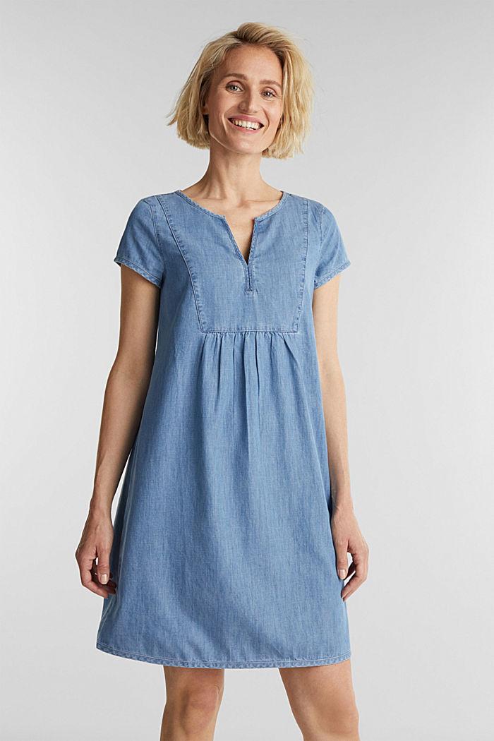 Denim jurk, 100% katoen, BLUE LIGHT WASHED, detail image number 0