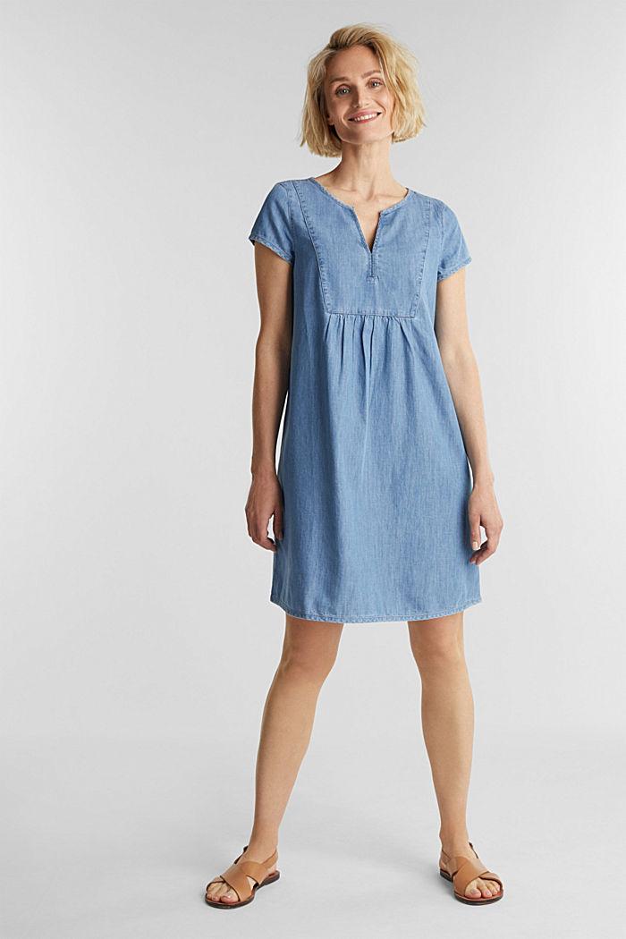 Denim jurk, 100% katoen, BLUE LIGHT WASHED, detail image number 1