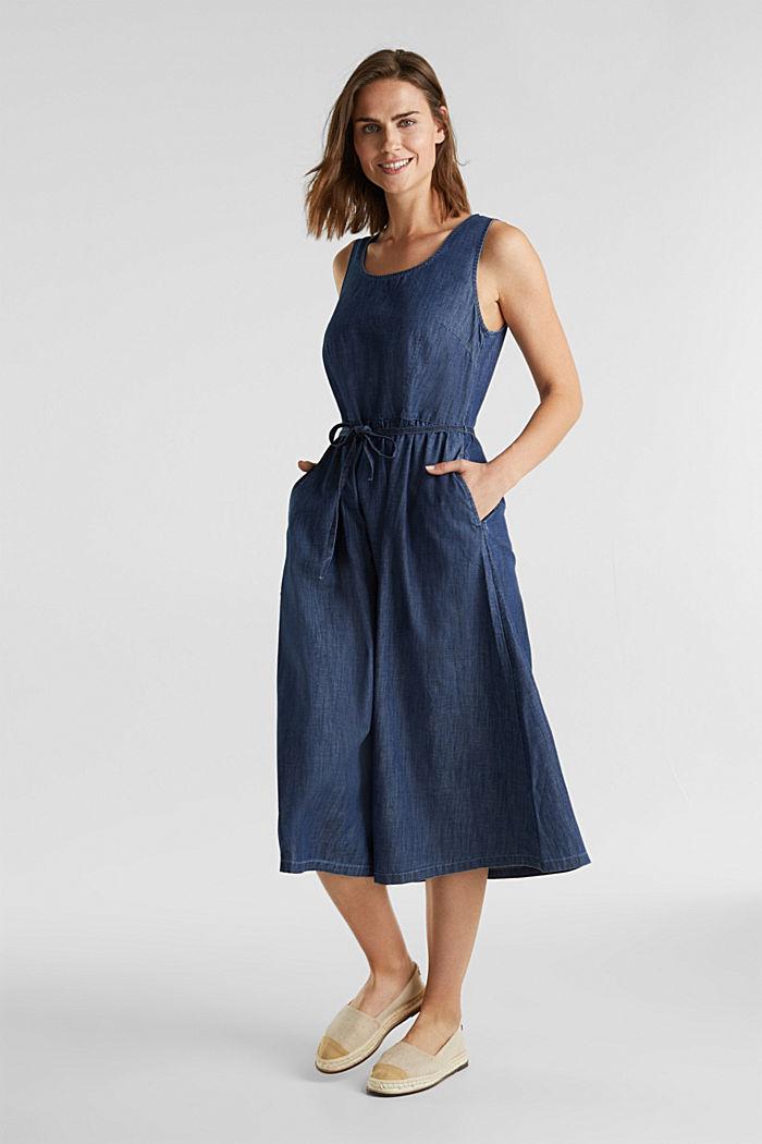 Cotton denim dress, BLUE RINSE, detail image number 0