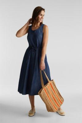 Denim dress with belt, 100% cotton, BLUE RINSE, detail