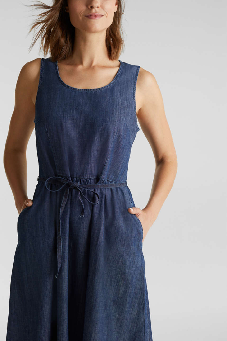Denim dress with belt, 100% cotton, BLUE RINSE, detail image number 3
