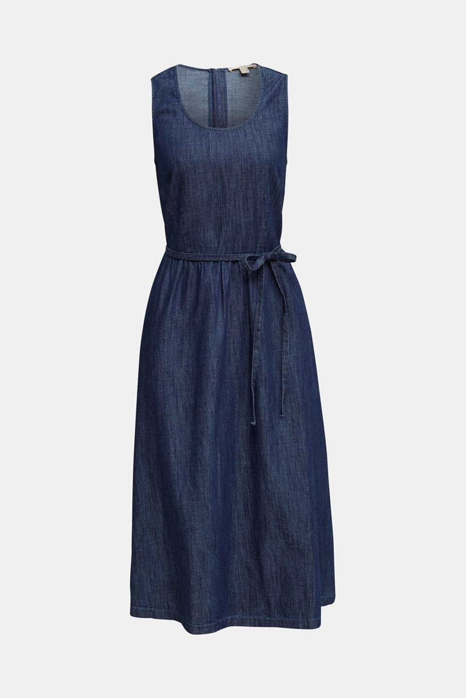 Denim dress with belt, 100% cotton, BLUE RINSE, detail image number 6