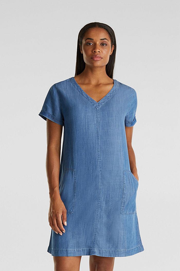 Aus TENCEL™: V-Neck-Kleid, BLUE MEDIUM WASHED, detail image number 0