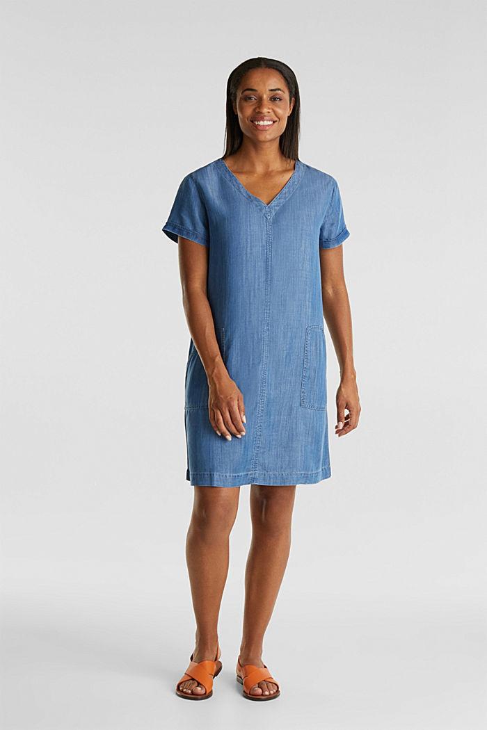 Aus TENCEL™: V-Neck-Kleid, BLUE MEDIUM WASHED, detail image number 1
