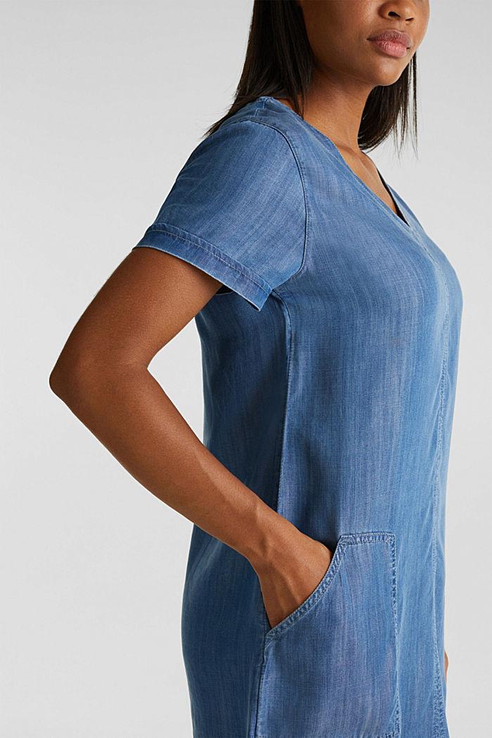 Aus TENCEL™: V-Neck-Kleid, BLUE MEDIUM WASHED, detail image number 3