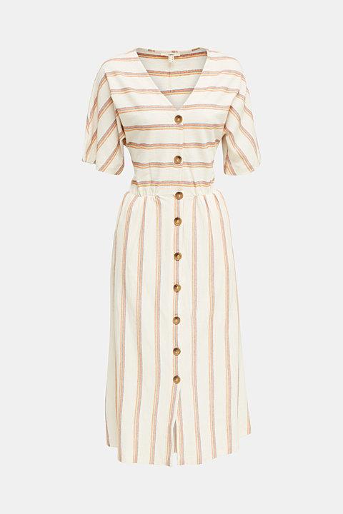 Linen blend: dress with a button placket