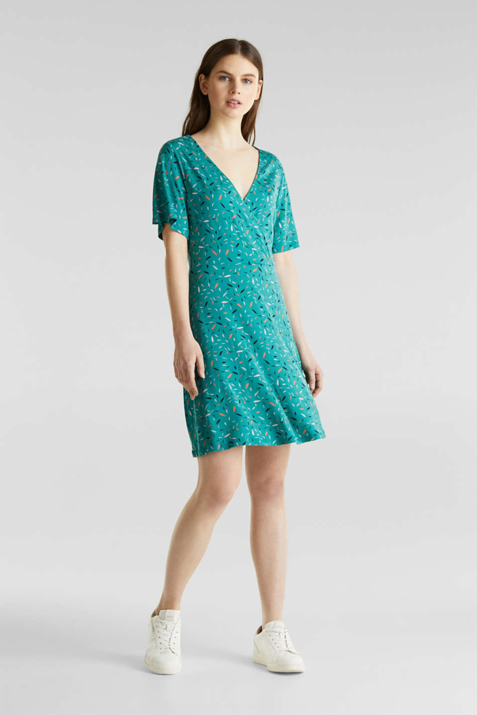 Esprit - Wrap-over effect, stretch jersey dress