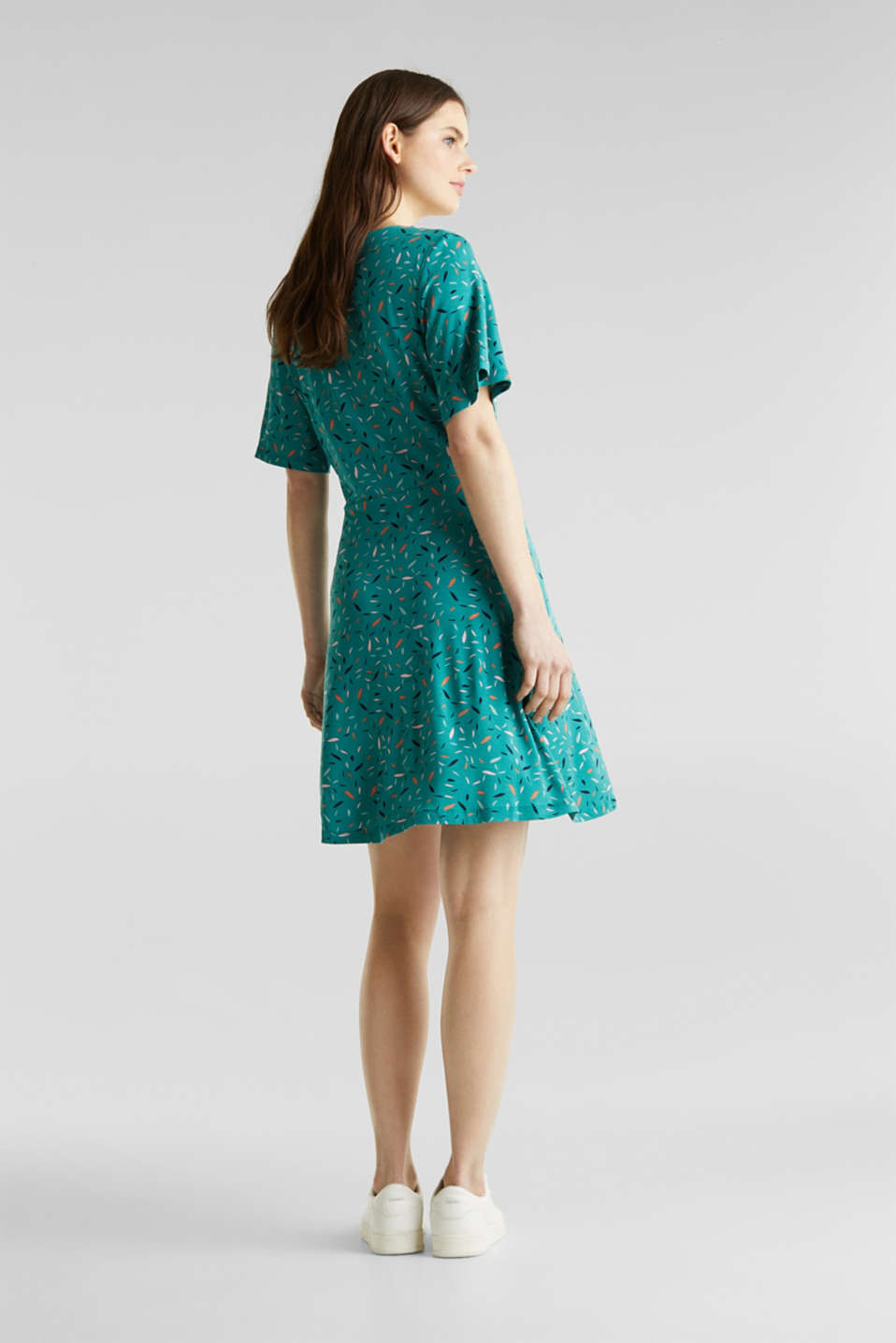 Wrap-over effect, stretch jersey dress, TEAL GREEN, detail image number 2