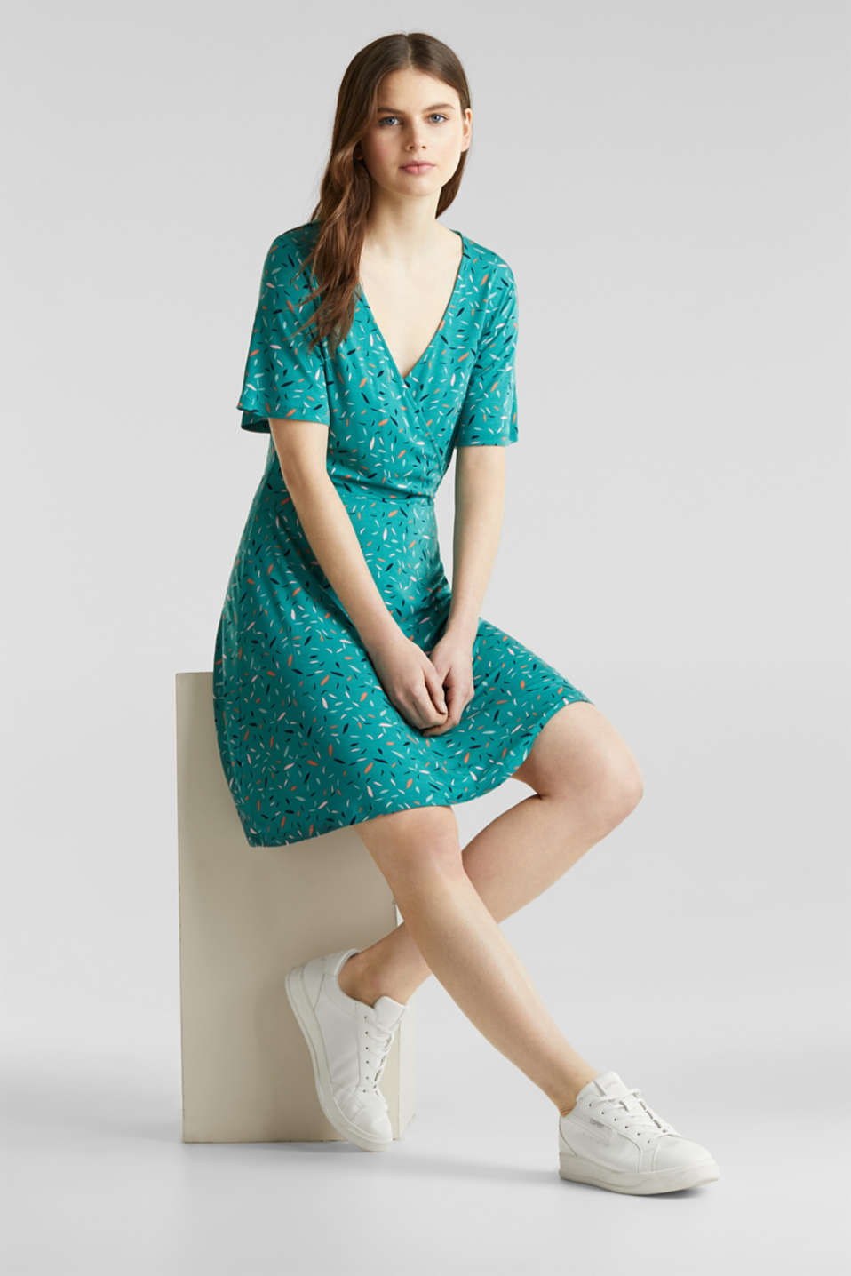 Wrap-over effect, stretch jersey dress, TEAL GREEN, detail image number 1
