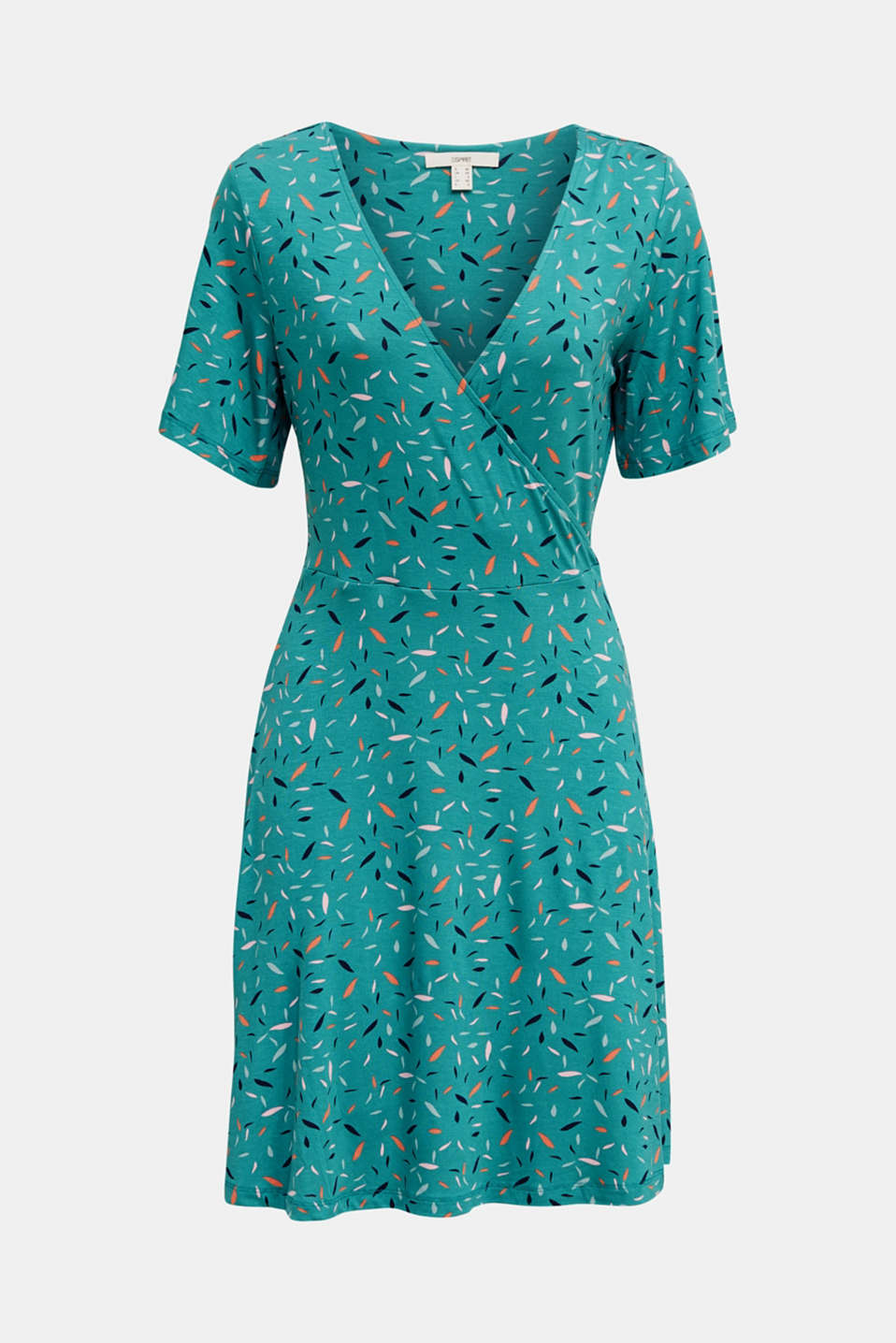 Wrap-over effect, stretch jersey dress, TEAL GREEN, detail image number 7