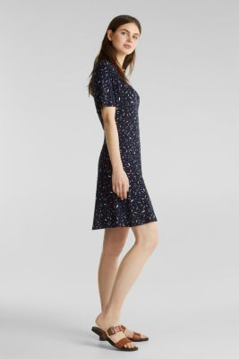Wrap-over effect, stretch jersey dress, NAVY, detail