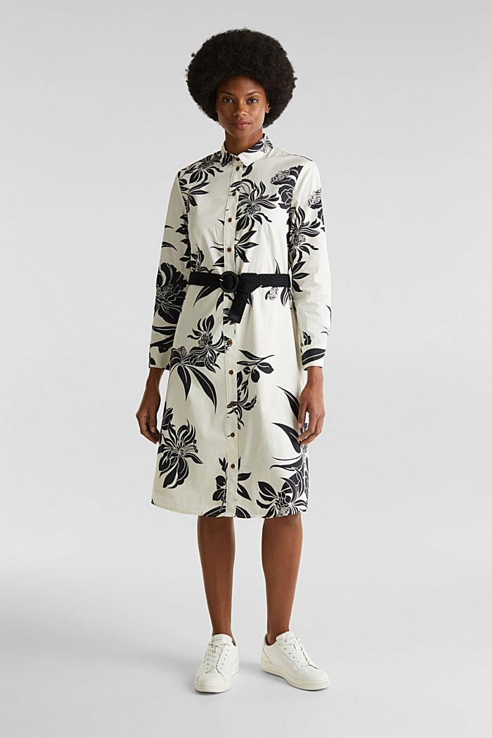 Vestido con cinturón, 100% algodón, OFF WHITE, detail image number 0