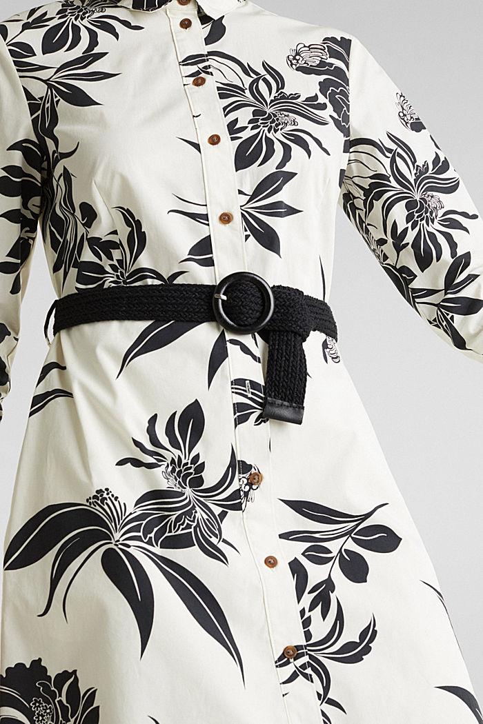 Vestido con cinturón, 100% algodón, OFF WHITE, detail image number 3