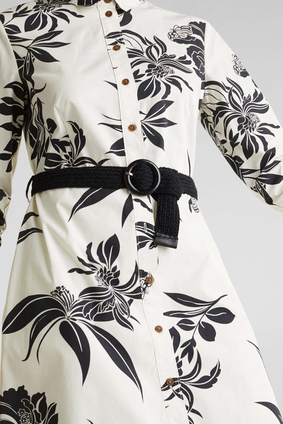 Dress with a belt, 100% cotton, OFF WHITE 4, detail image number 3