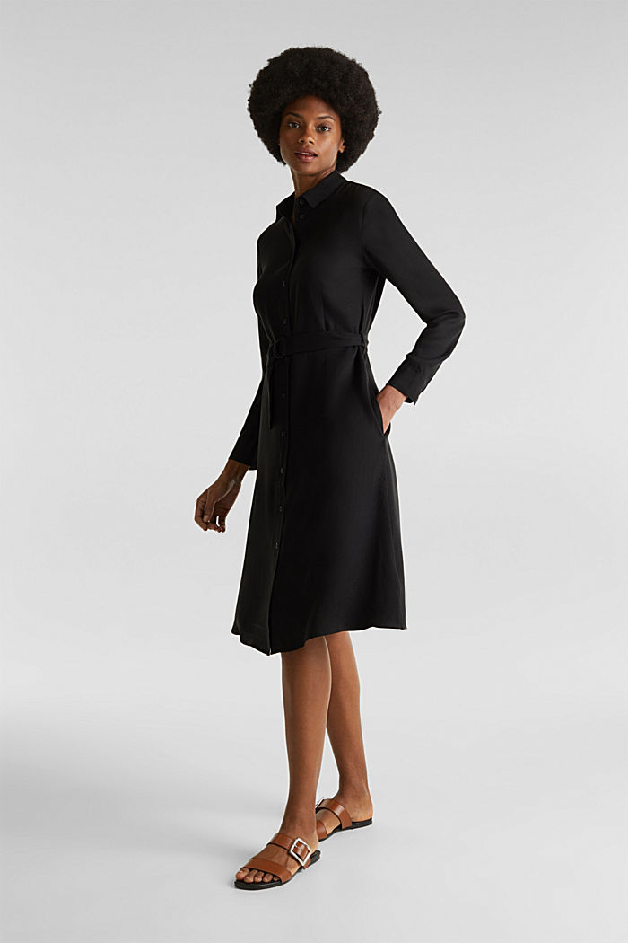 Shirt dress with a belt, lyocell