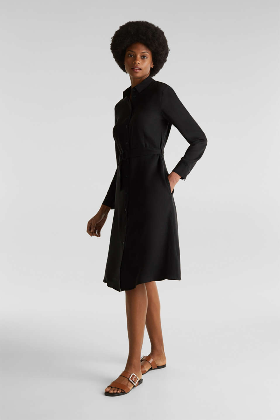 Shirt dress with a belt, lyocell, BLACK 3, detail image number 0