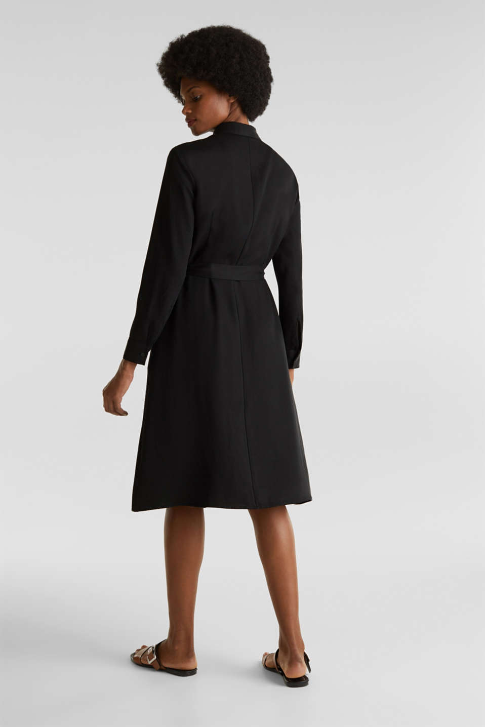 Shirt dress with a belt, lyocell, BLACK 3, detail image number 2