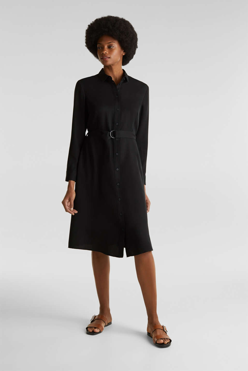 Shirt dress with a belt, lyocell, BLACK 3, detail image number 6