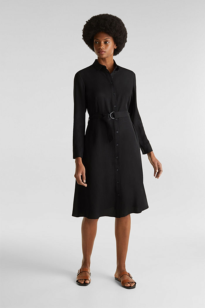 Shirt dress with a belt, lyocell, BLACK, detail image number 1