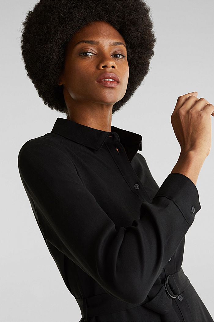 Shirt dress with a belt, lyocell, BLACK, detail image number 3
