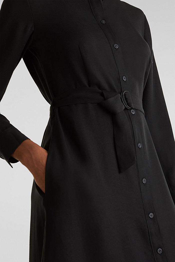 Shirt dress with a belt, lyocell, BLACK, detail image number 7