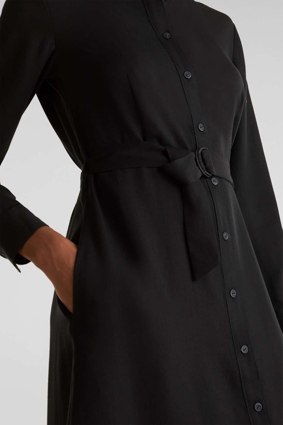 Shirt dress with a belt, lyocell, BLACK 3, detail image number 7