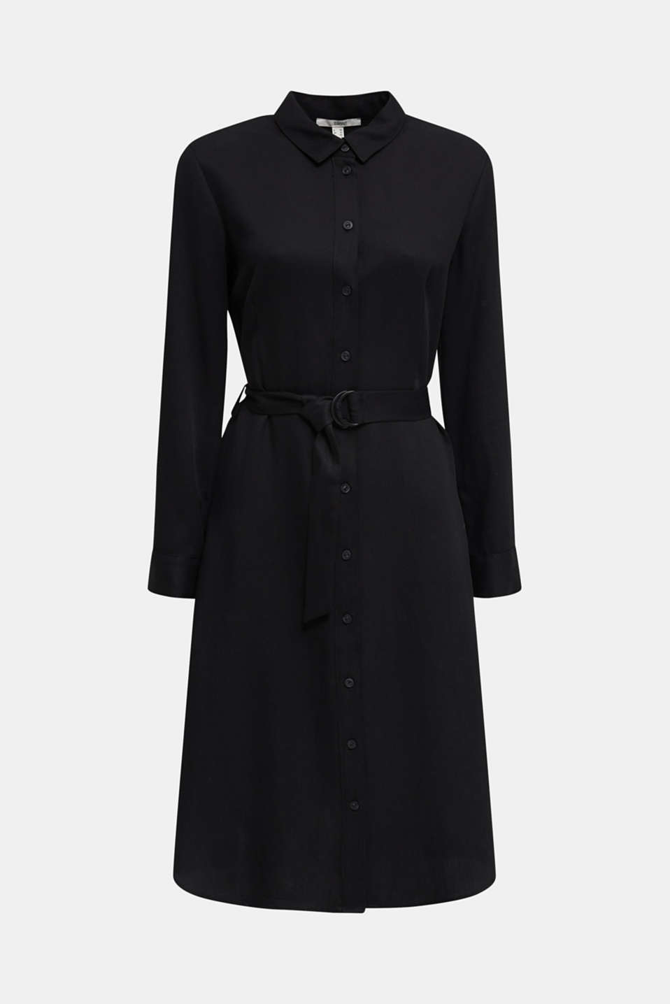 Shirt dress with a belt, lyocell, BLACK 3, detail image number 9