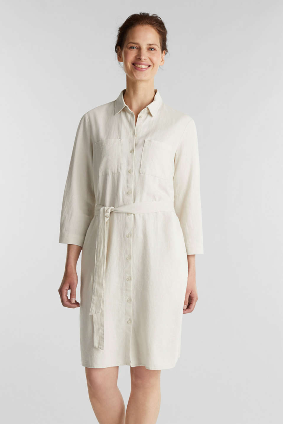 Esprit - Linen blend: shirt dress